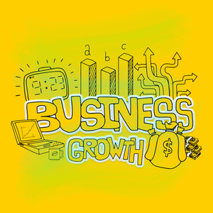 Stylish business growth infographic layout with different success elements for print