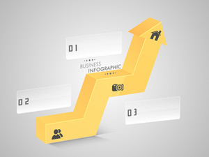 Stylish business infographic 3D up side arrow showing growth with 2.0 web icons and numbers for your presentation on shiny grey background.