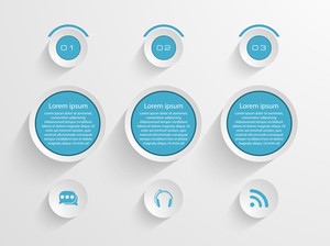 Stylish business infographic icons in blue color on grey background.