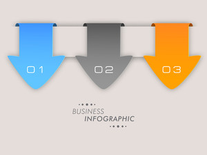 Stylish business infographic layout with colorful papers and numeric on skyblue background.