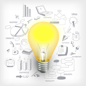 Stylish business infographic layout with electric bulb on various business infographic elements background.