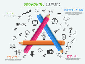 Stylish Business Infographic template with colorful glossy pencils on various creative elements background.