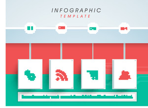Stylish business infographic user interface on colorful background.