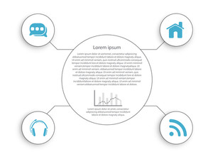 Stylish business infographic user interface with menu icons and its details on white background.