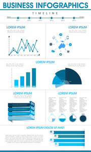 Stylish business infographics template including various elements as graphs
