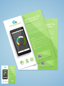 Stylish business template or brochure design with smartphone based on technology concept.