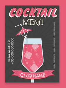 Stylish Cocktail menu card design for club pub