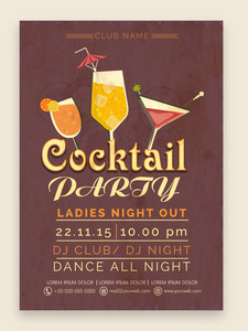 Stylish Cocktail Party celebration one page Flyer Banner or Template with date and time details.