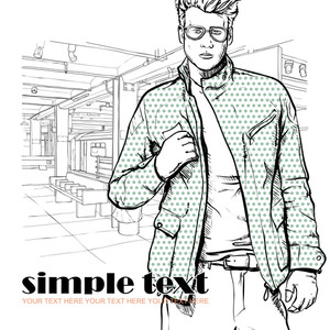 Stylish Dude At Subway Station.  Vector Illustration