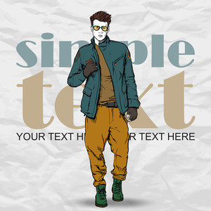 Stylish Dude On A Grunge Background. Vector Illustration.