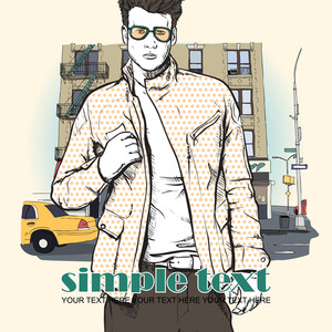 Stylish Dude  On A Street-background. Vector Illustration.