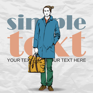 Stylish Dude With Bag  On A Grunge Background. Vector Illustration.