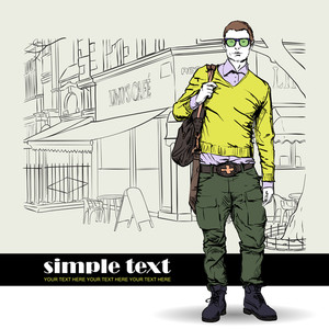 Stylish Dude With Bag  On A Street-cafe Background. Vector Illustration.