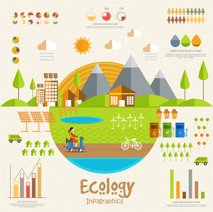 Stylish Ecological Infographic template with view of colorful urban city and creative elements.