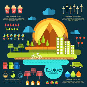 Stylish Ecological Infographic template with view of green urban city and various save nature elements.