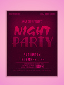 Stylish elegant flyer banner or template for Night Party celebration with date and time details.