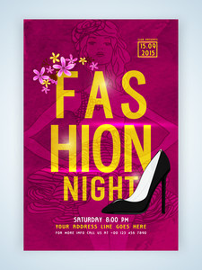 Stylish elegant template banner or flyer with young fashionable girl and high-heels for Fashion Night.