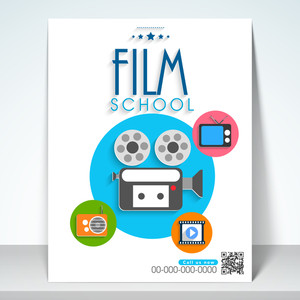 Stylish film school flyer template or banner design.
