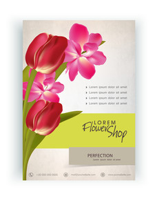 Stylish Flower Shop flyer banner or template design with fresh flowers.