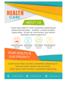 Stylish Flyer Banner or Pamphlet for Health Care concept.
