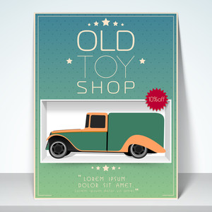 Stylish flyer banner or template design for old toy shop with 10% discount offer.
