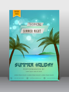 Stylish flyer banner or template design for summer holiday.