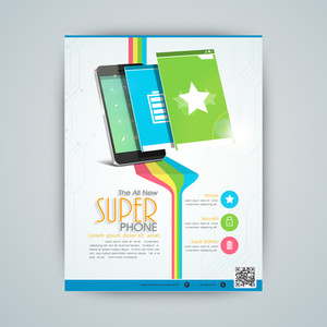Stylish flyer banner or template for mobile shop with smartphone and user interface layout presentation.