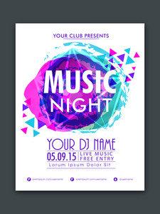 Stylish flyer banner or template with colorful abstract design for Music Night Party celebration.