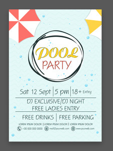 Stylish flyer banner or template with colorful umbrella for Pool Party celebration.