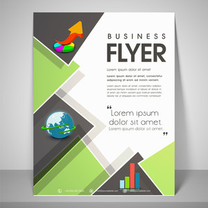 Stylish flyer design for business with image of pie graph globe