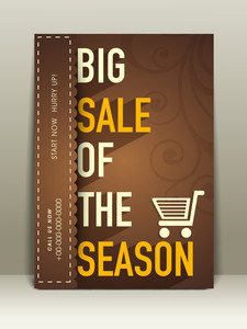 Stylish flyer for big sale of the season with sign of cart and address bar.