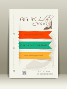 Stylish flyer for girl's shoes shop with place holder address bar and mailer.