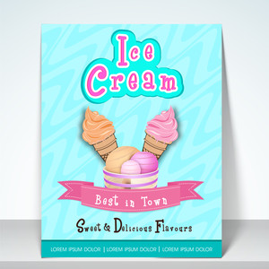 Stylish flyer or menu for ice cream parlour with address bar.