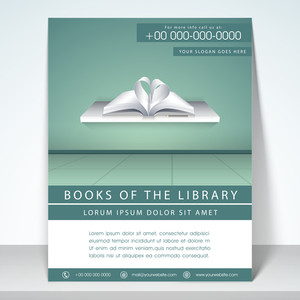Stylish flyer template and brochure for library with address bar and mailer.