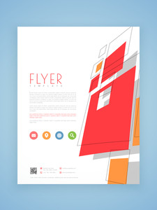 Stylish flyer template or brochure design with colorful icons for business purpose.