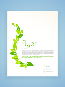 Stylish flyer template or brochure design with green leaves based on ecology concept.