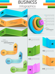 Stylish glossy business infographic layout.