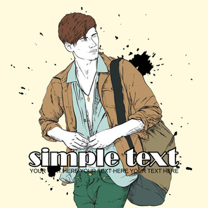 Stylish Guy With Bag  On A Grunge Background. Vector Illustration.