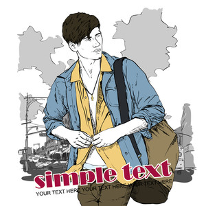 Stylish Guy With Bag  On A Street-background. Vector Illustration.