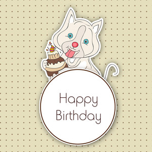Stylish Happy Birthday Greeting Card With Little Pussy Cat With Delicious Cake On Dotted  Background