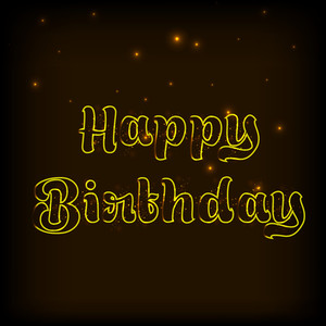 Stylish Happy Birthday Text On Shiny Brown Background