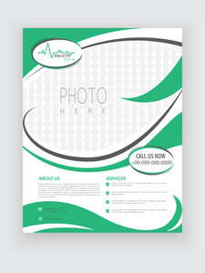 Stylish Health Care flyer in white and green color with place holders for your image and content.