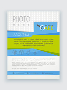 Stylish Health Care template brochure or flyer presentation with place holder for professional content.