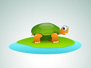 Stylish Illustration Of Sea Tortoise On Blue Background.