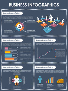 Stylish infographics layout with different graphs showing your business growth.