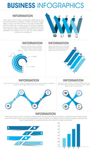 Stylish infographics templates with various elements for your business reports and data presentation.