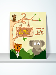 Stylish Jungle Festival poster or invitation design with cartoon of animals and party details.