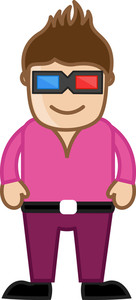 Stylish Man With 3d Glasses - Office Corporate Cartoon People
