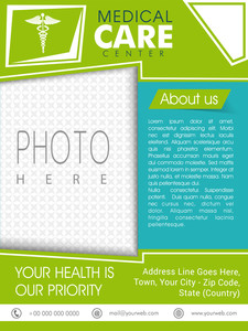 Stylish Medical Care Center template brochure or flyer with Caduceus sign and space for your photo.