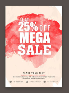 Stylish Mega Sale flyer banner or template design with 25% discount offer.